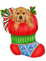Наклейка новогодняя Собака в носочке