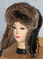 Стильная теплая мужская шапка ушанка из меха кролика