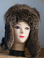 Зимняя шапка ушанка мужская из меха кролика - бурый окрас