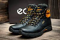 Зимние ботинки мужские, на меху, черные с желтым