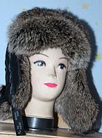 Модная молодежная шапка ушанка из меха кролика