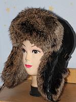 Тёплая шапка ушанка из меха кролика