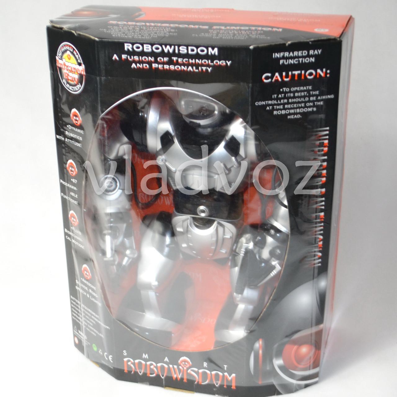 фото упаковки робота на пульте управления радиоуправляемая игрушка Robowisdom серебристый с коробкой