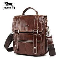 Сумка портфель мужская из натуральной кожи CROSS OX SL393M (коричневая)