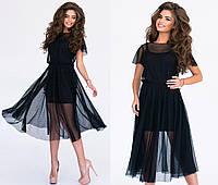 Платье трикотажное  двойка, сетка, размер 42-46