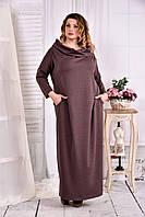 Коричневое трикотажное платье с воротником 0570-3