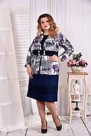 Жакет с синими цветами 0577-1-1 (на платье 0577-1-2)