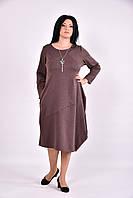 Коричневое трикотажное платье | 0582-1