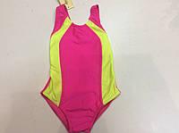 Купальник спортивный для плавания розовый/желтиый р. M