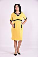 Желтое миди платье с карманами | 0596-2