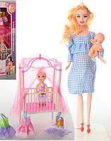 Кукла беременная в розовом платье с пупсом