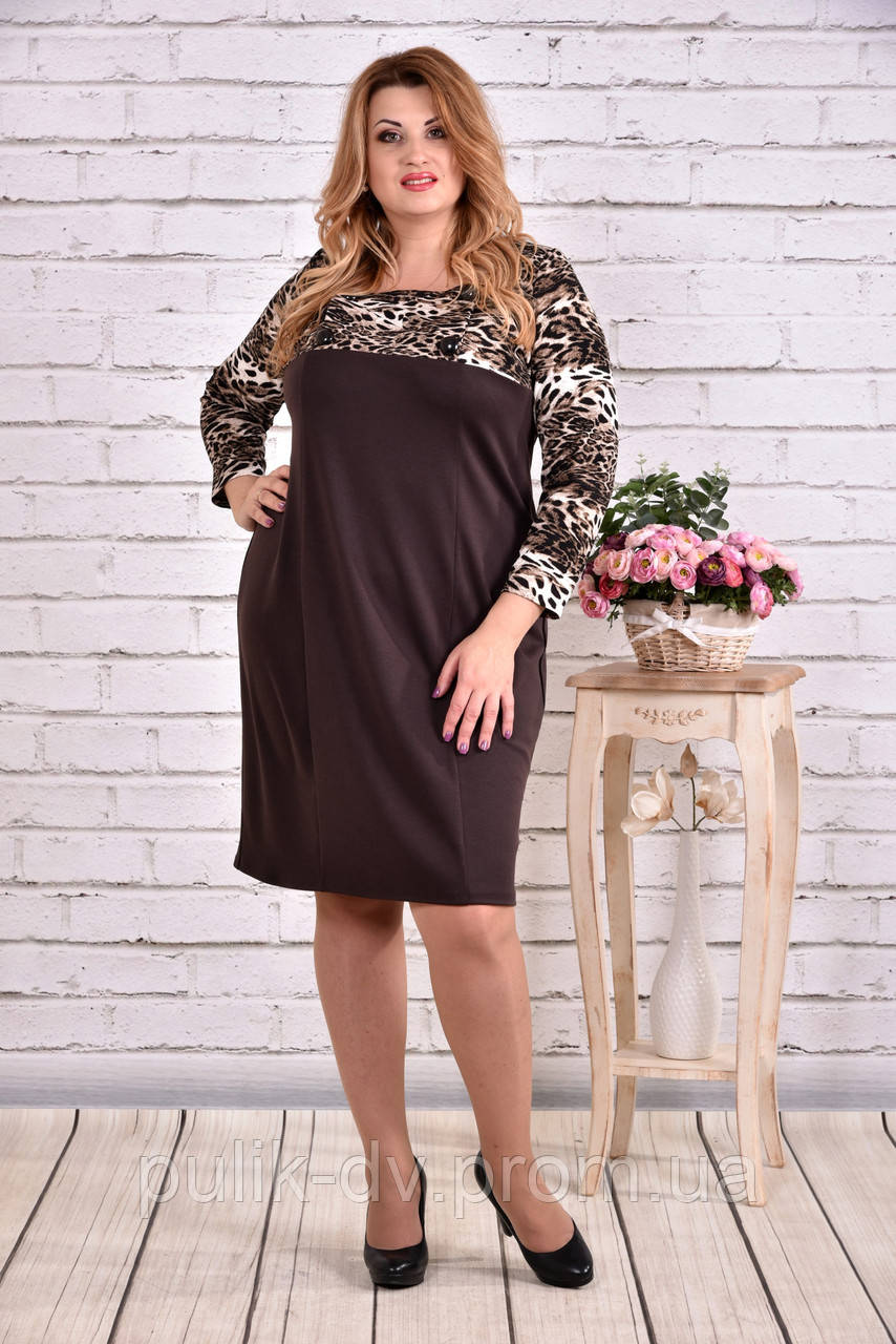 Леопардовое коричневое платье из трикотажа | 0607-2 - Margo&Ko в Одессе