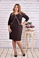 Коричневое платье выше колена   0610-2