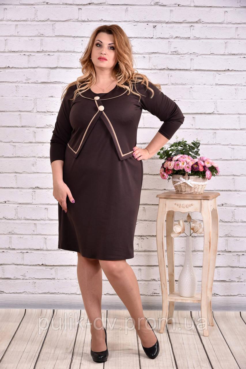 Коричневое платье выше колена | 0610-2 - Margo&Ko в Одессе