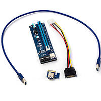 Riser Райзер 007 PCI-E 1X to 16X, 4pin Molex
