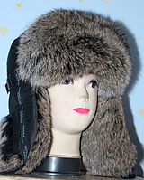 Стильная тёплая мужская шапка ушанка из меха кролика - бурый окрас