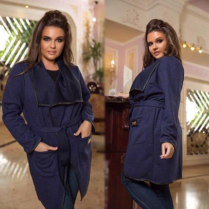 """Ангоровое женское пальто на запах """"Faith"""" с люрексом и кожанной отделкой (большие размеры), фото 2"""
