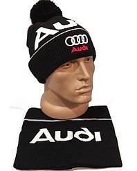 Спортивная шапка с бубоном +баф audi