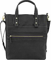 Кожаная мужская сумка с двумя ручками матовая черная