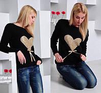Свитер женский ангора с золотым сердцем