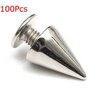 100шт 7x10mm винт металлические серебряные шпильки заклепки пуля шип конус для кожи корабля