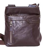 Мужская кожаная сумка через плечо небольшого размера коричневая гладкая кожа