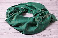 Хит сезона! люрексовый палантин-шаль  Louis Vuitton темно-зеленый вышит золотой нитью