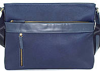 Мужская сумка через плечо из натуральной кожи флотар синяя