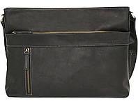 Мужская сумка через плечо из натуральной кожи черная матовая