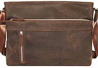 Мужская сумка через плечо из натуральной кожи коричневая матовая
