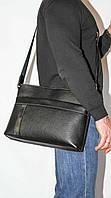Мужская сумка через плечо из натуральной кожи флотар черная