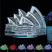 Сиднейский оперный театр 7 цвет 3d LED настольный настольная лампа сенсорный выключатель + пульт дистанционного управления