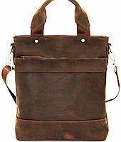 Мужская кожаная сумка с двумя ручками коричневая матовая