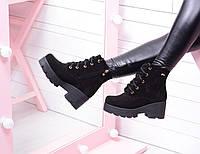 Зимние ботинки на толстой подошве. Натуральный замш