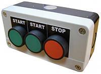 "Пост кнопочный трехместный ""СТАРТ1-СТАРТ2-СТОП"", 10A, 230/400B, (2 зеленые, красная N0+NC), Electro"