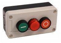 "Пост кнопочный трехместный ""СТАРТ-СТОП-СИГНАЛ"", 10A, 230/400B (зеленая, красная, N0+NC, AD22 зеленая), Electro"