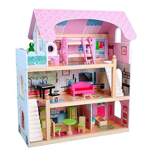 Кукольный дом 1038. Деревянный. Трехэтажный. 3 комнаты с мебелью, балкон