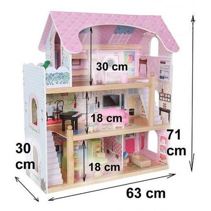 Кукольный дом 1038. Деревянный. Трехэтажный. 3 комнаты с мебелью, балкон, фото 2