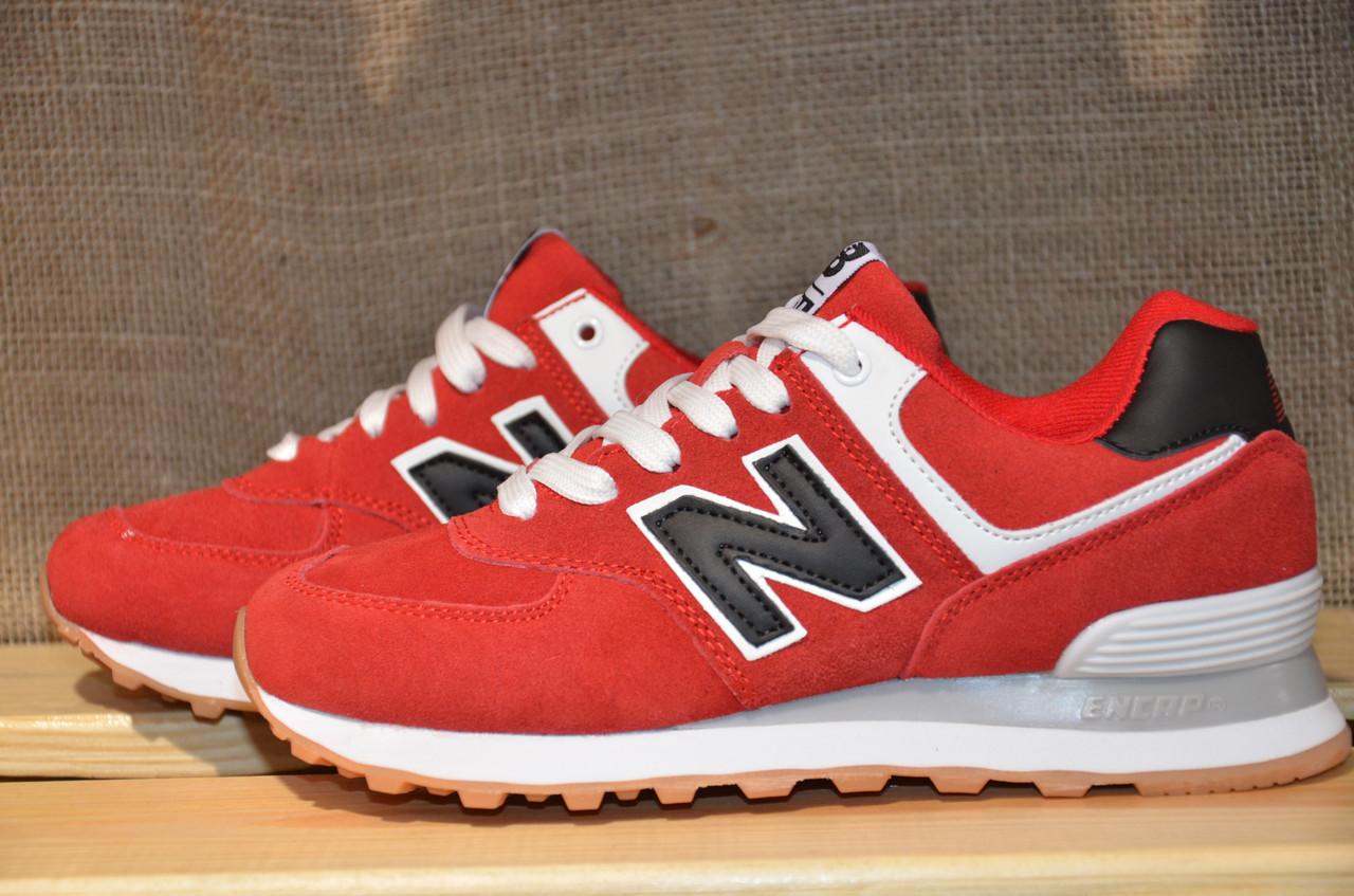 Женские и подростковые кроссовки New Balance 574 (327 красные) -  Интернет-магазин