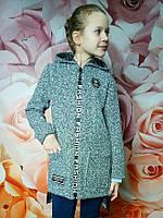 Модное пальто светло-серое