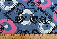Джинсовая ткань рубашечная (круги и сердечки)