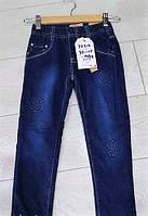 Теплые джинсы на резинке для девочки 98-128