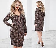 Платье шерстяное трикотажное с металлическим напылением !  размер 48-54 коричневое, 52