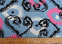 Джинсовая ткань рубашечная (сердичка и круги)