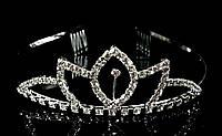Диадема корона на обруче с гребешками, высота 3,5 см