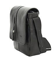 Кожаная мужская сумка через плечо черная