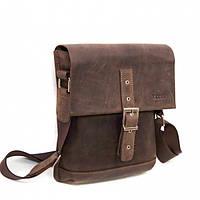 Мужская сумка-планшет небольшого размера коричневая натуральная кожа