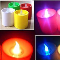 LED Мерцающий электронные красочные свечи голосовое управление светом свечи украшение рождественских праздников