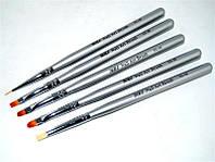 Набор кистей для рисования на ногтях YRE YG-05, серебрянная ручка, в наборе 5шт., кисть для росписи ногтей, кисть для моделирования, кисть для дизайна