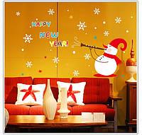 Счастливый новый год снеговик рождества съемные окна стикер стены украшения поделок домашняя вечеринка